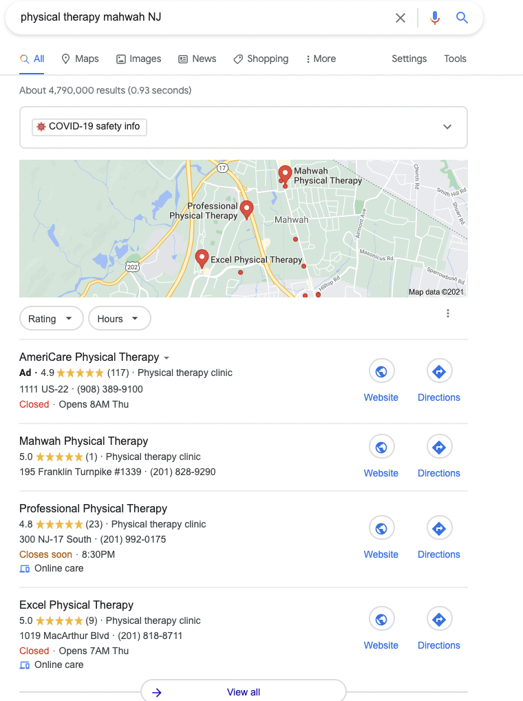 Google Local Pack Ad Example for Physical Therapy Marketing